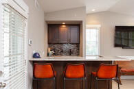 Bonus room remodel with bar area nook.
