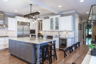 Beautiful hardwood flooring in remodeled kitchen