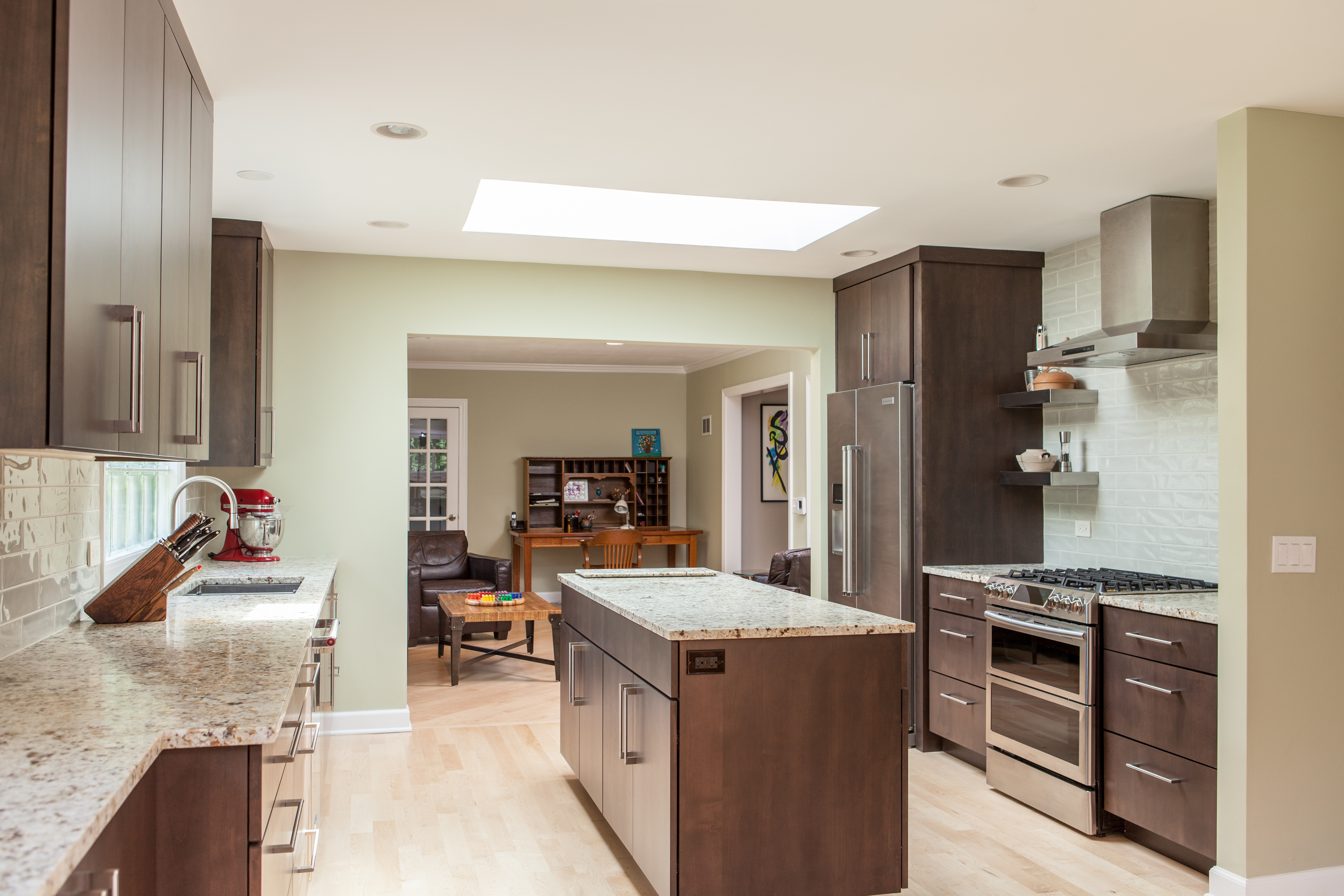 Open concept kitchen remodel into office space