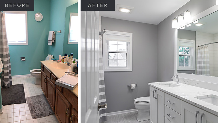 Hall bathroom remodel in Lake Zurich by BDS Design Build Remodel